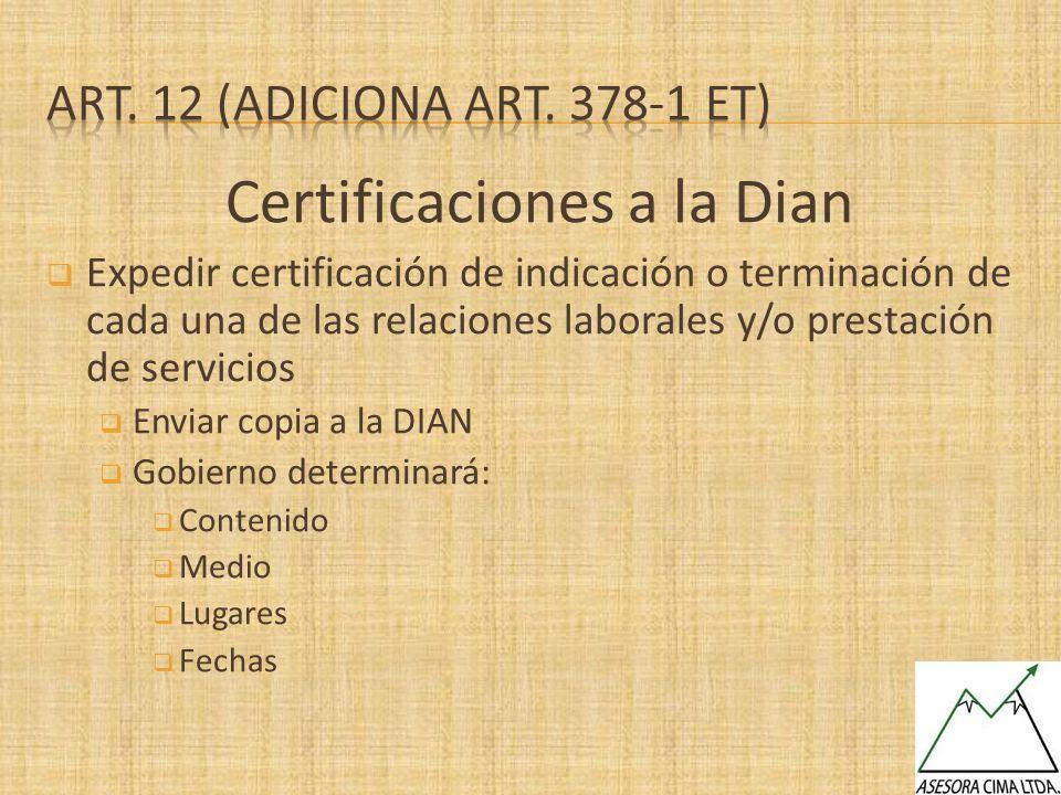 Certificaciones a la Dian