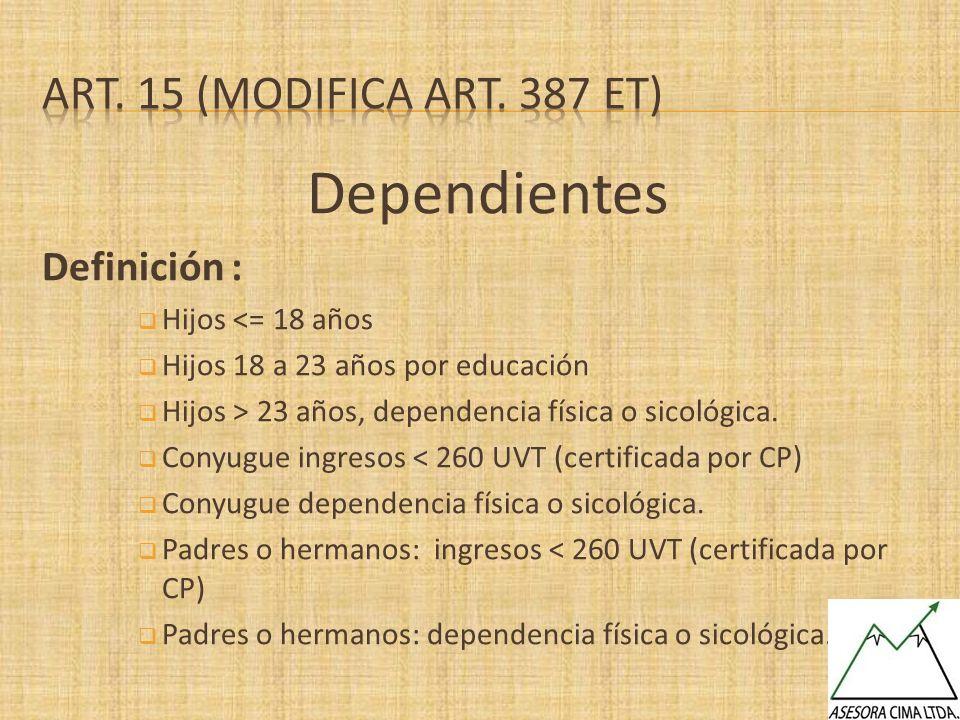 Dependientes Art. 15 (Modifica art. 387 et) Definición :
