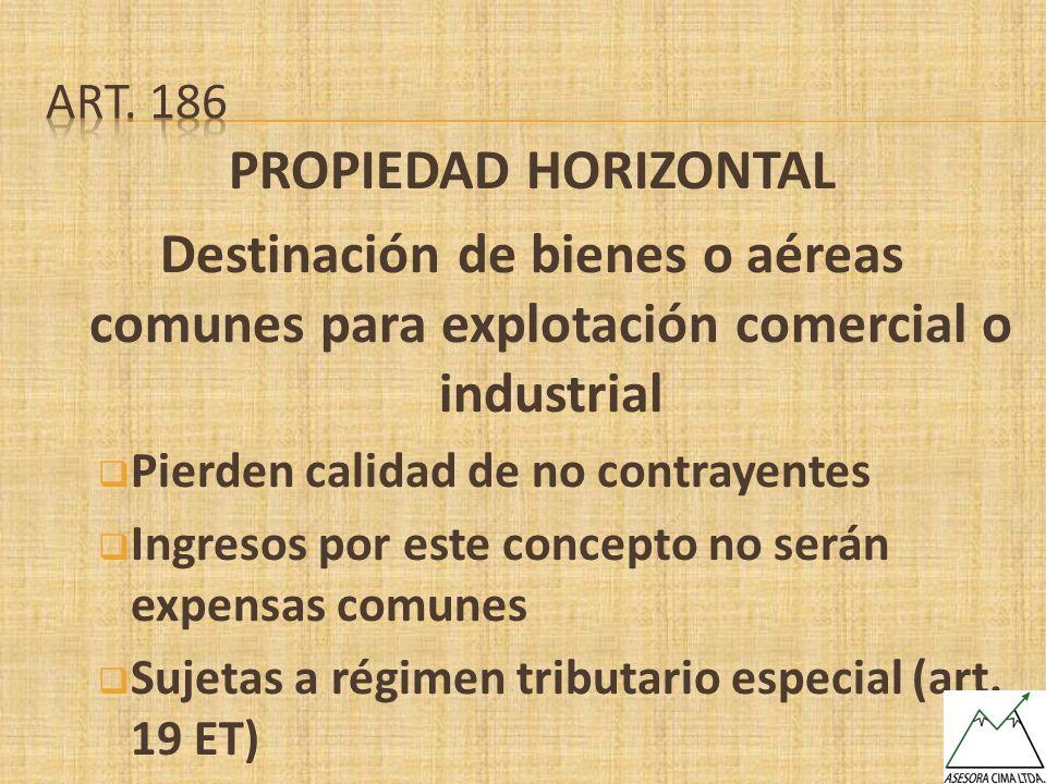 Art. 186PROPIEDAD HORIZONTAL. Destinación de bienes o aéreas comunes para explotación comercial o industrial.