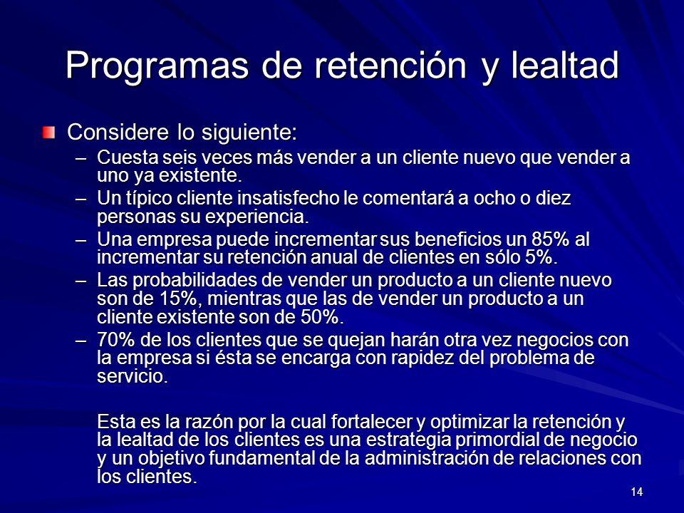 Programas de retención y lealtad