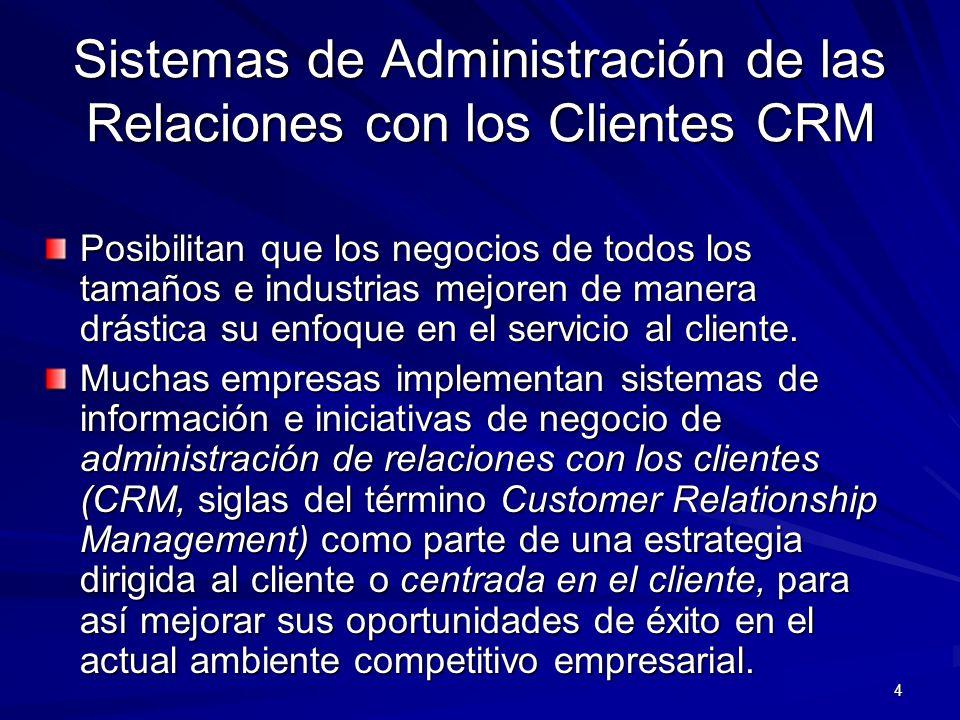 Sistemas de Administración de las Relaciones con los Clientes CRM