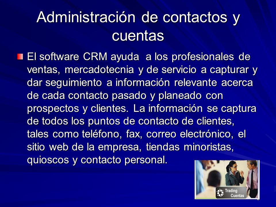 Administración de contactos y cuentas