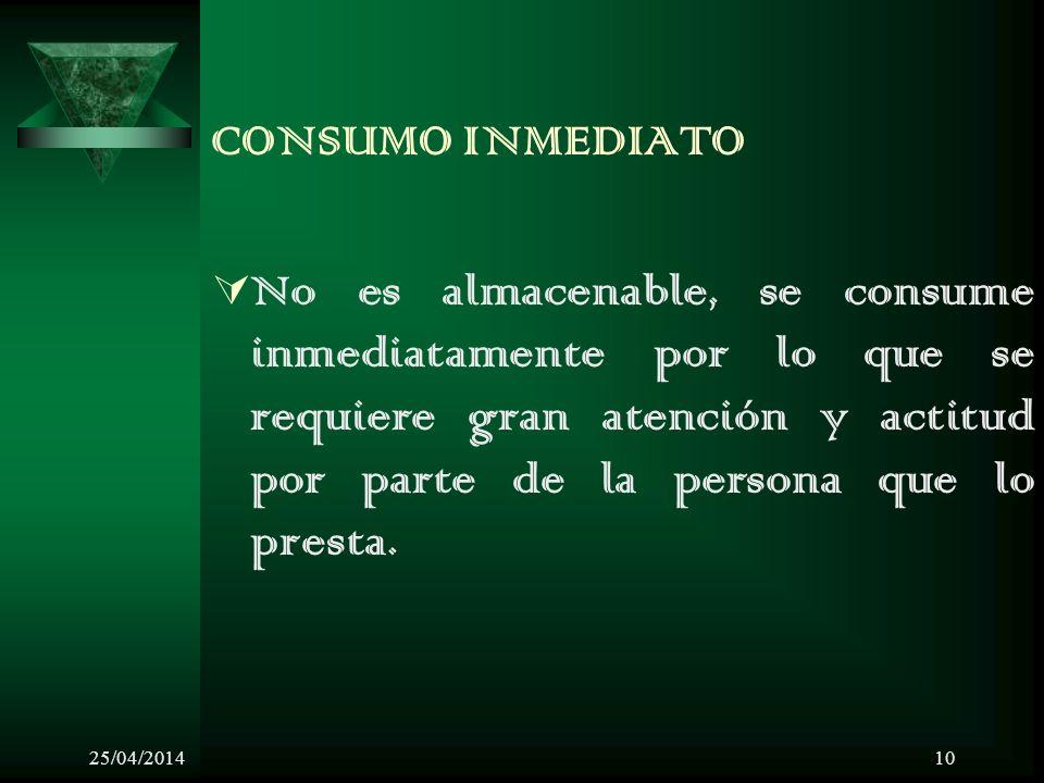 CONSUMO INMEDIATO No es almacenable, se consume inmediatamente por lo que se requiere gran atención y actitud por parte de la persona que lo presta.