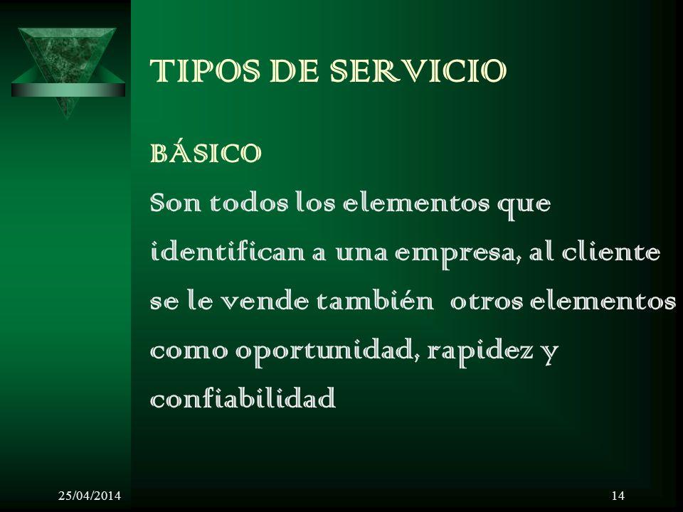 TIPOS DE SERVICIO BÁSICO Son todos los elementos que