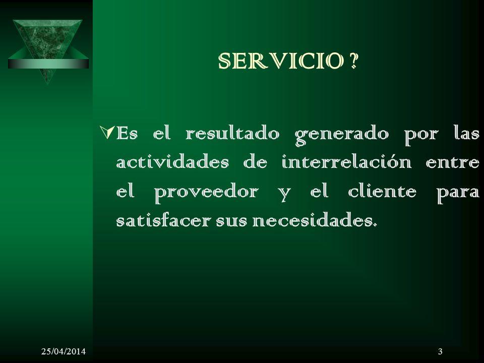 SERVICIO Es el resultado generado por las actividades de interrelación entre el proveedor y el cliente para satisfacer sus necesidades.