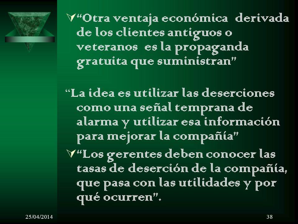 Otra ventaja económica derivada de los clientes antiguos o veteranos es la propaganda gratuita que suministran