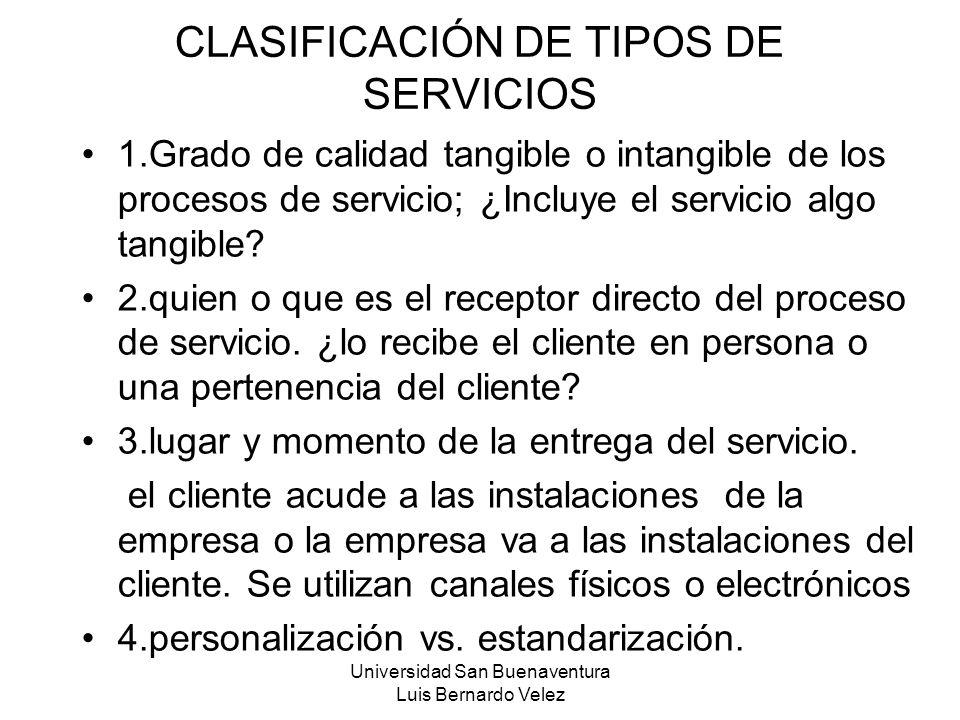 CLASIFICACIÓN DE TIPOS DE SERVICIOS