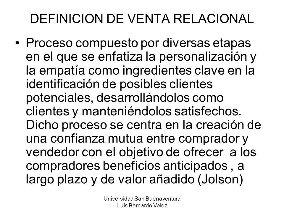 DEFINICION DE VENTA RELACIONAL