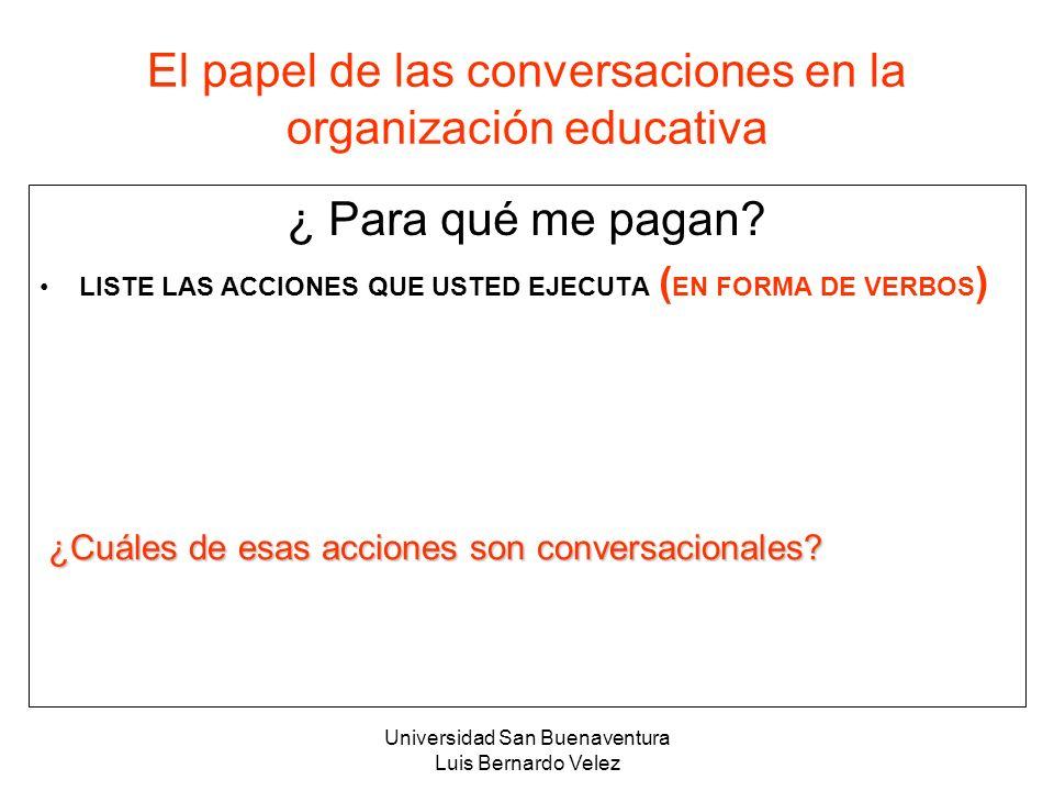 El papel de las conversaciones en la organización educativa