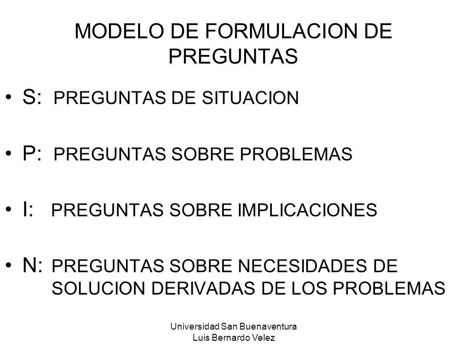 MODELO DE FORMULACION DE PREGUNTAS