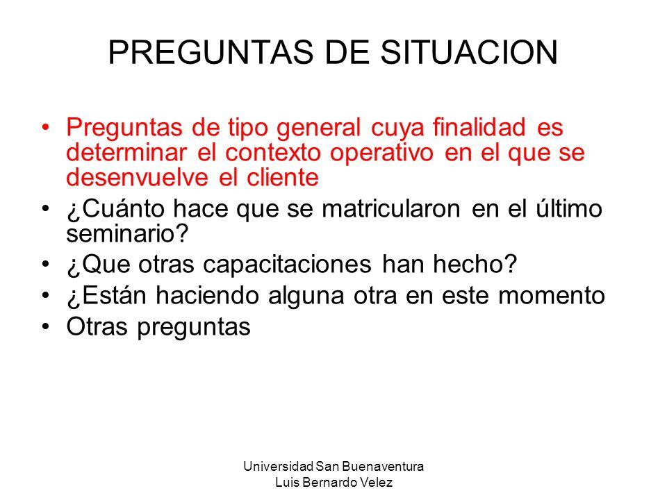 PREGUNTAS DE SITUACION