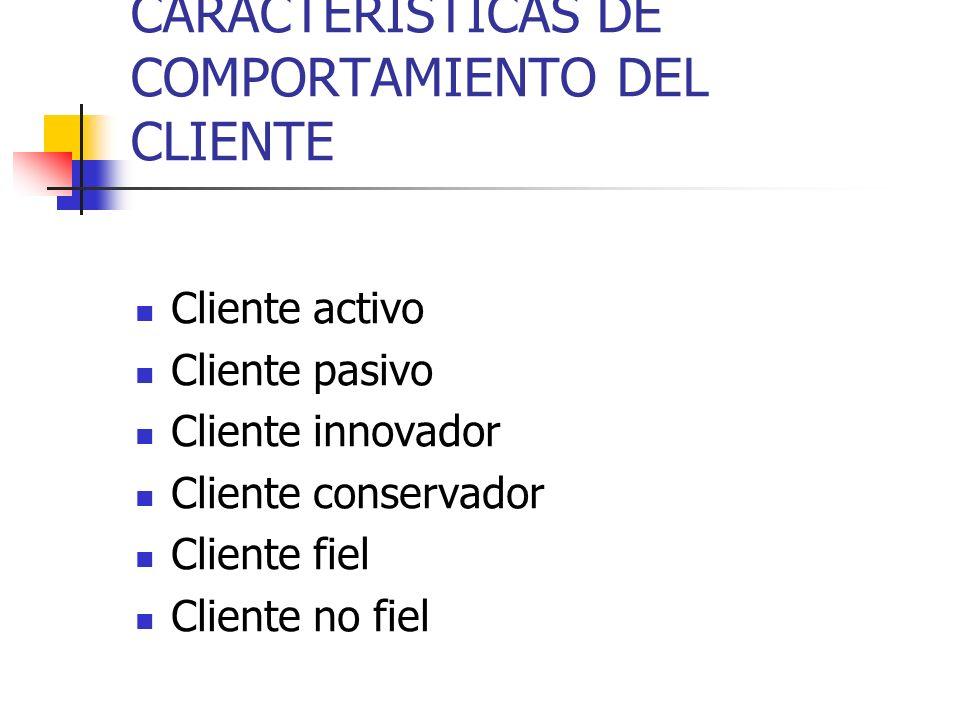 CARACTERISTICAS DE COMPORTAMIENTO DEL CLIENTE