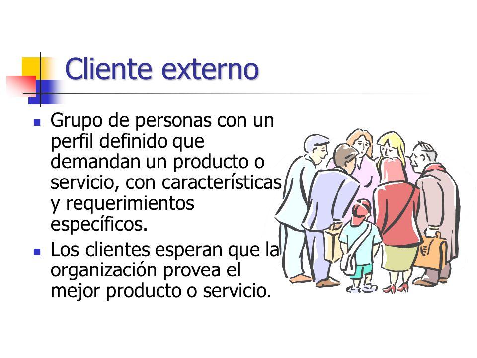 Cliente externo Grupo de personas con un perfil definido que demandan un producto o servicio, con características y requerimientos específicos.