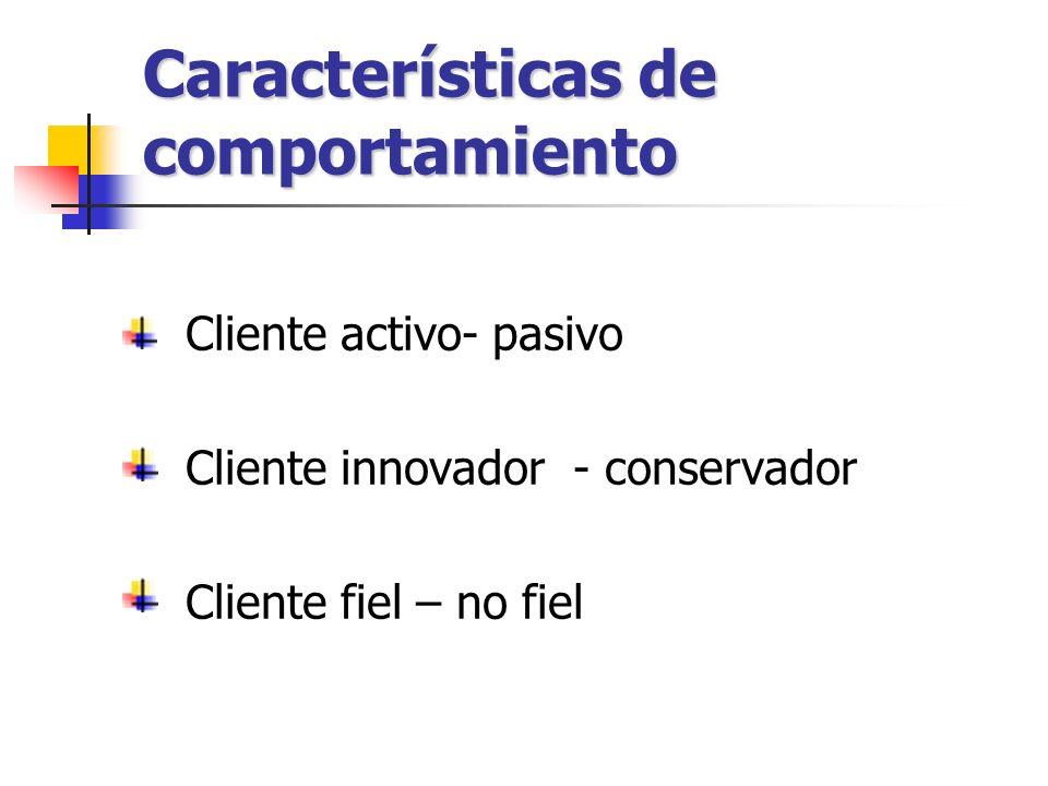 Características de comportamiento
