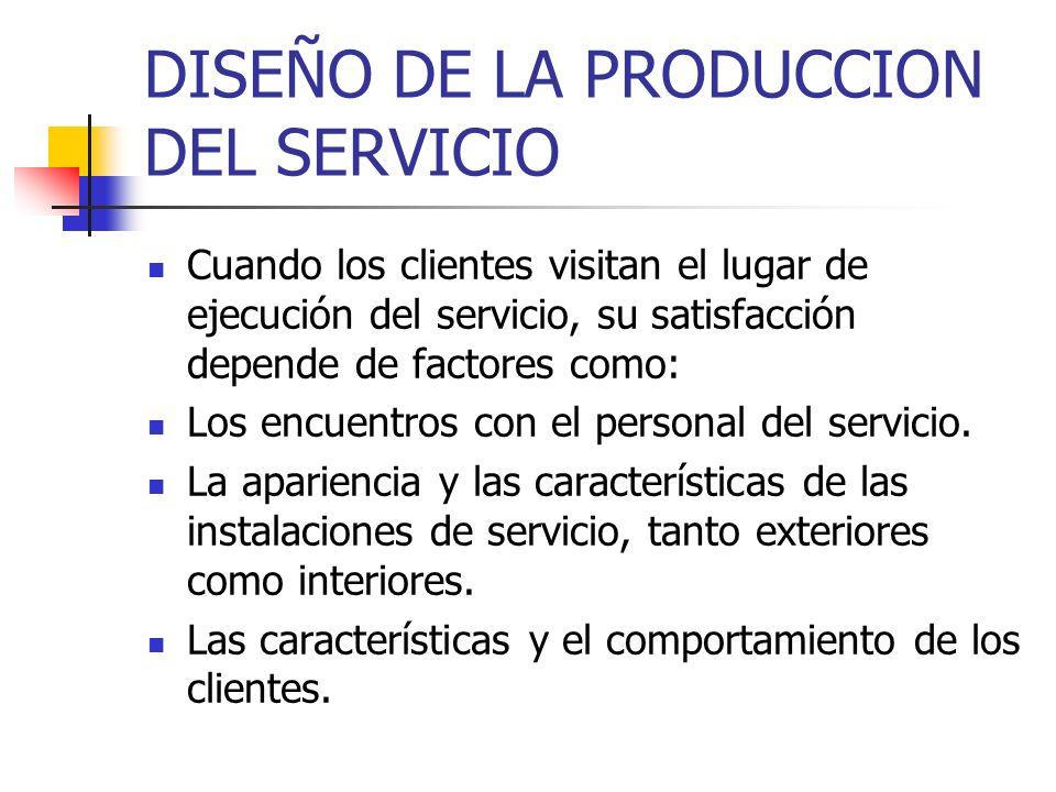 DISEÑO DE LA PRODUCCION DEL SERVICIO