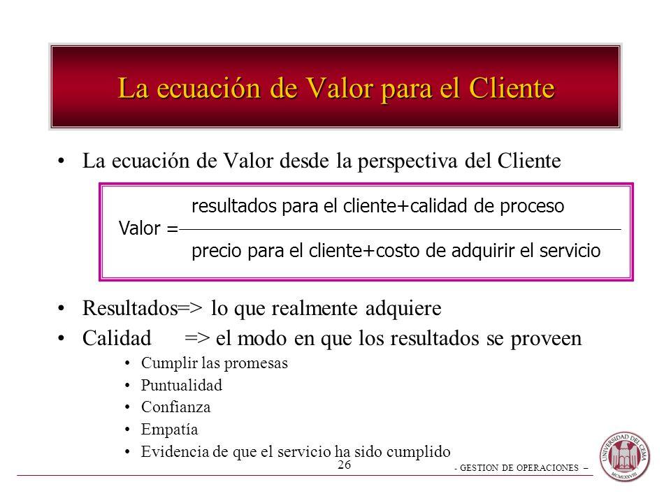 La ecuación de Valor para el Cliente