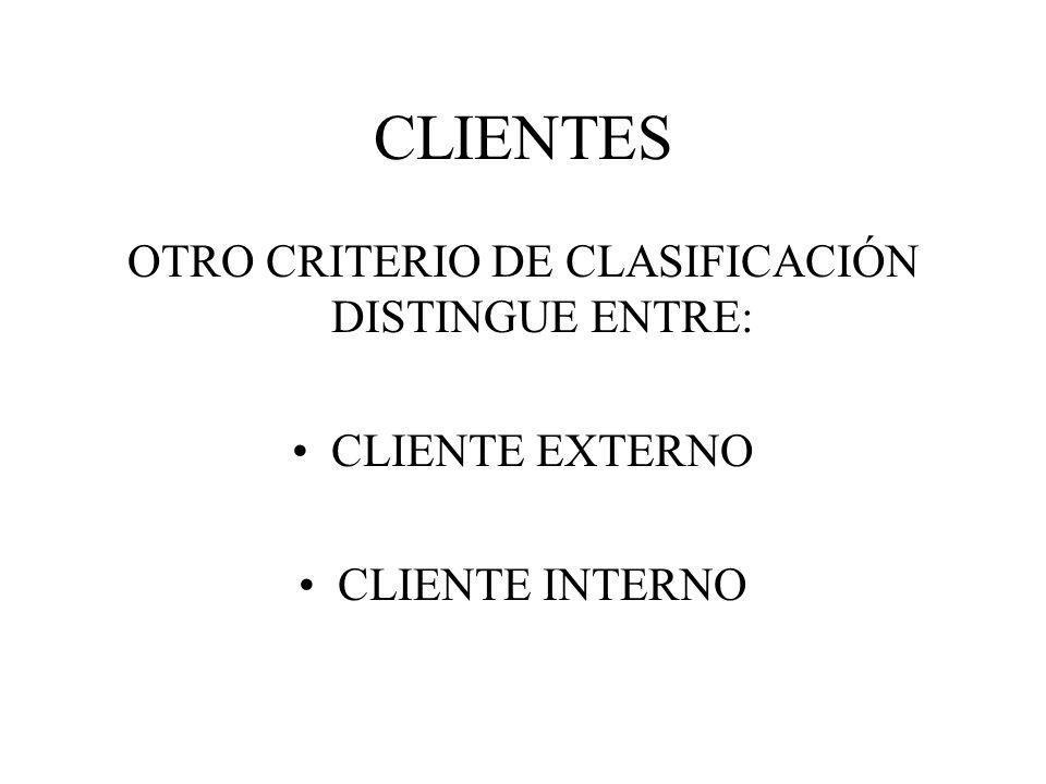 OTRO CRITERIO DE CLASIFICACIÓN DISTINGUE ENTRE:
