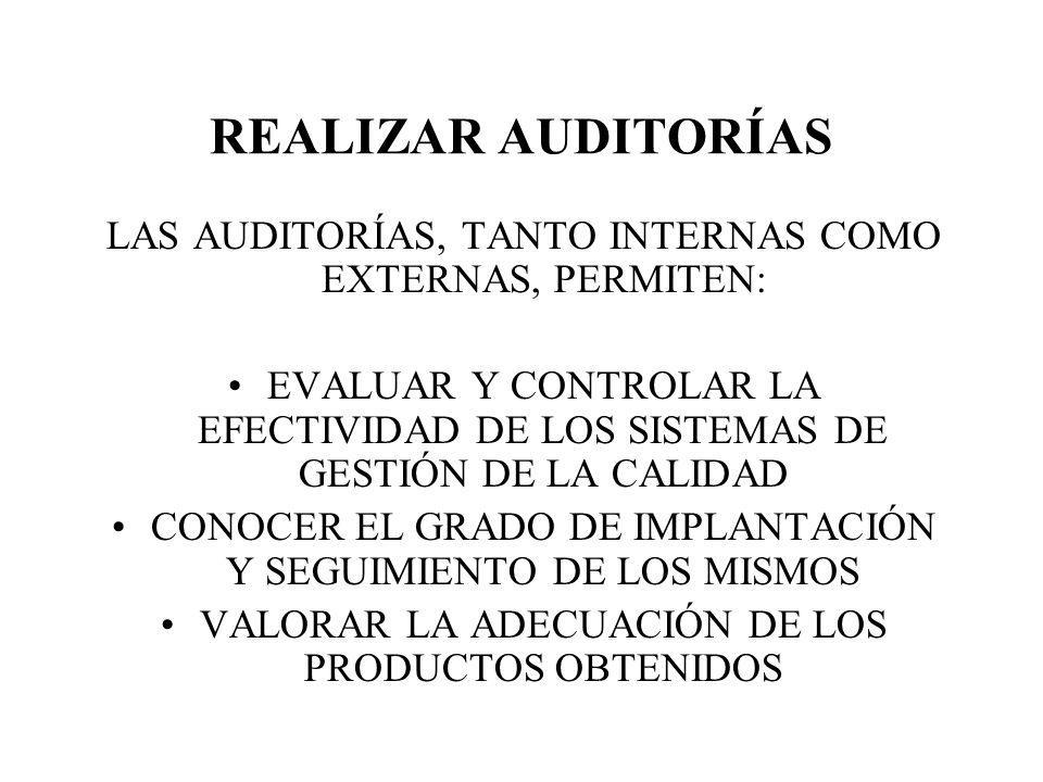 REALIZAR AUDITORÍAS LAS AUDITORÍAS, TANTO INTERNAS COMO EXTERNAS, PERMITEN: