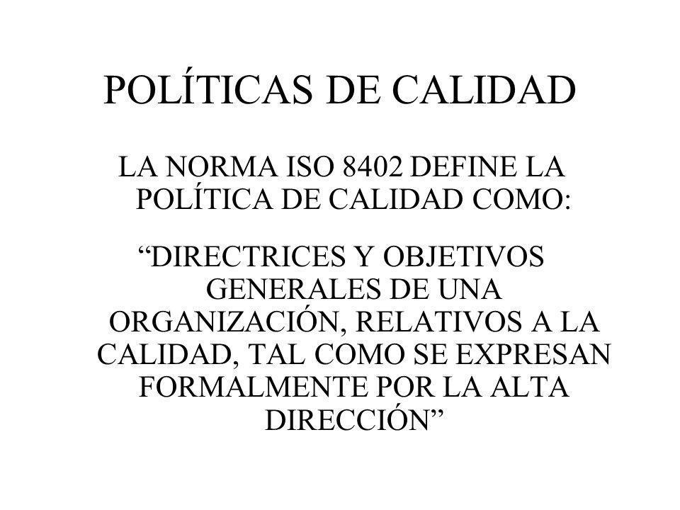 LA NORMA ISO 8402 DEFINE LA POLÍTICA DE CALIDAD COMO: