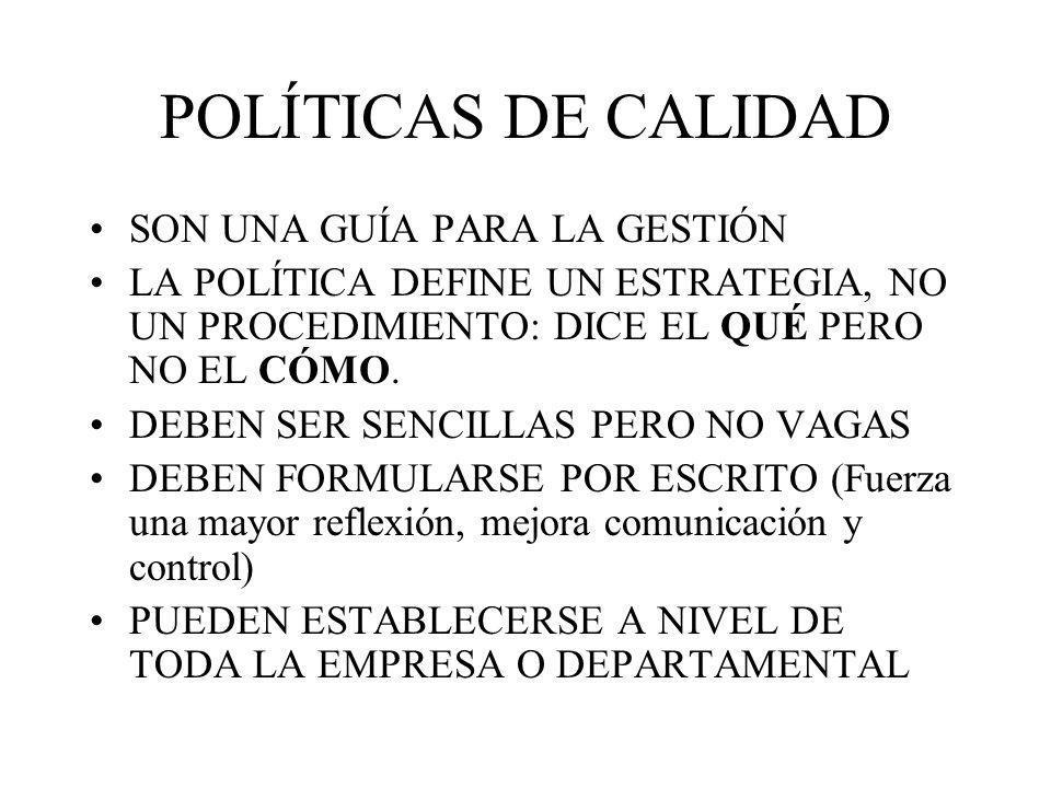 POLÍTICAS DE CALIDAD SON UNA GUÍA PARA LA GESTIÓN