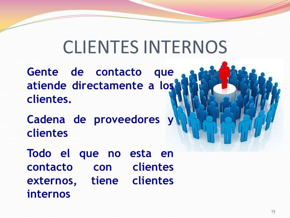 CLIENTES INTERNOS Gente de contacto que atiende directamente a los clientes. Cadena de proveedores y clientes.