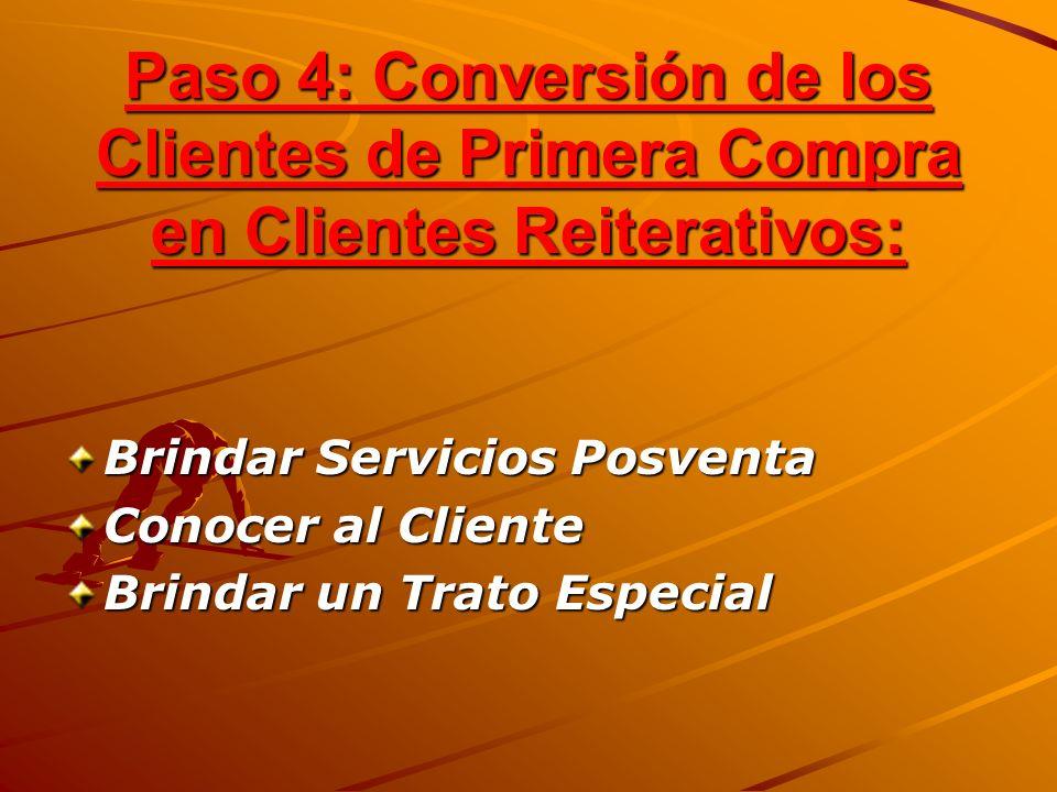 Paso 4: Conversión de los Clientes de Primera Compra en Clientes Reiterativos: