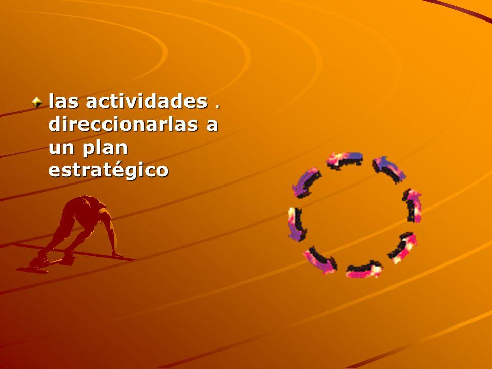 las actividades . direccionarlas a un plan estratégico