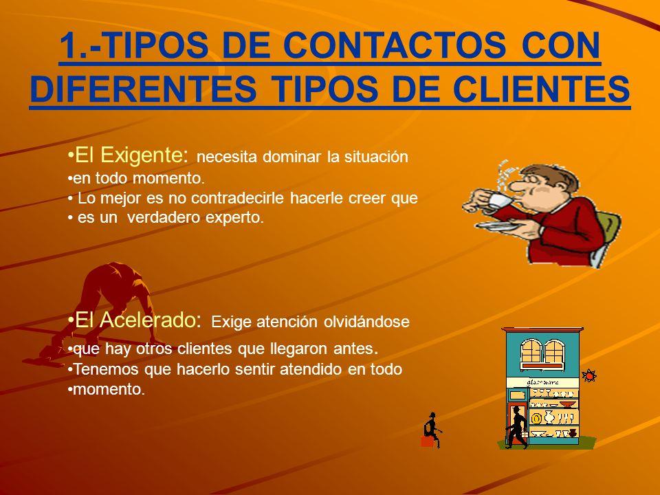 1.-TIPOS DE CONTACTOS CON DIFERENTES TIPOS DE CLIENTES
