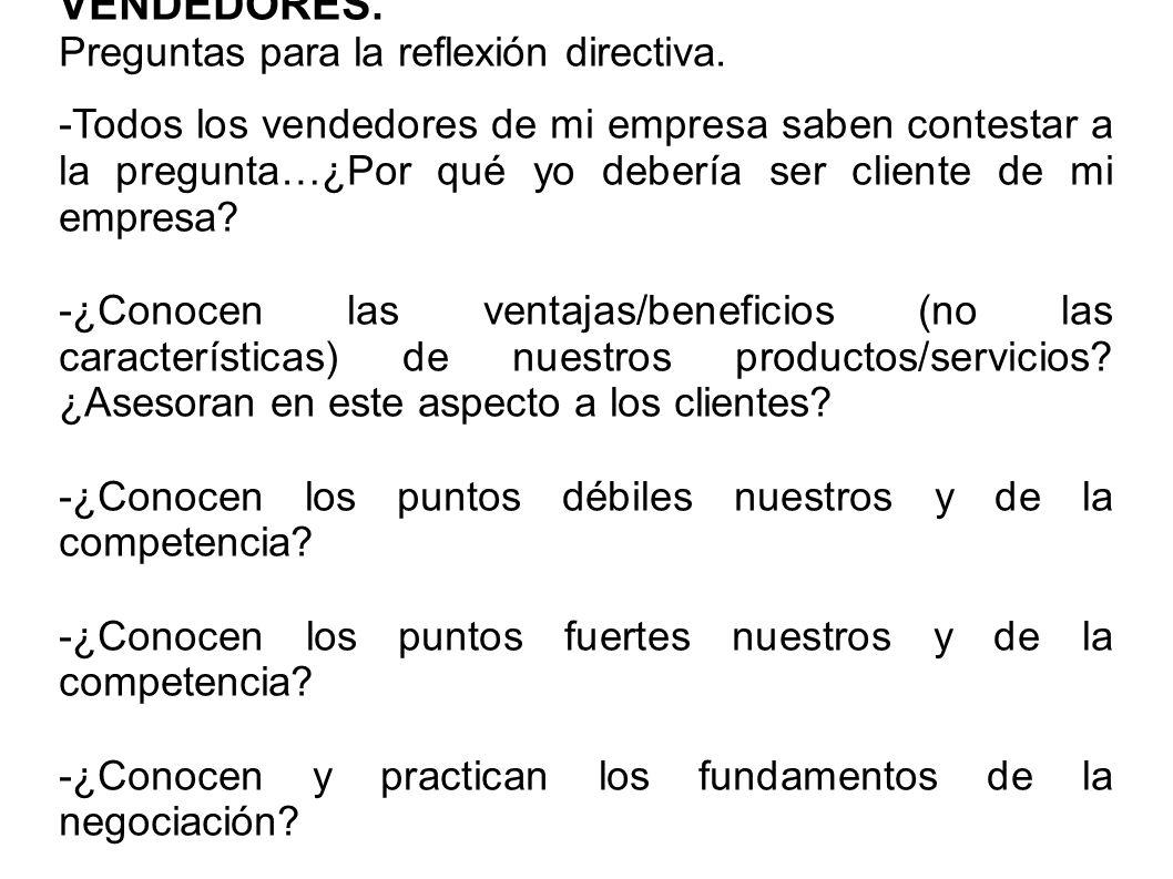 VENDEDORES. Preguntas para la reflexión directiva.