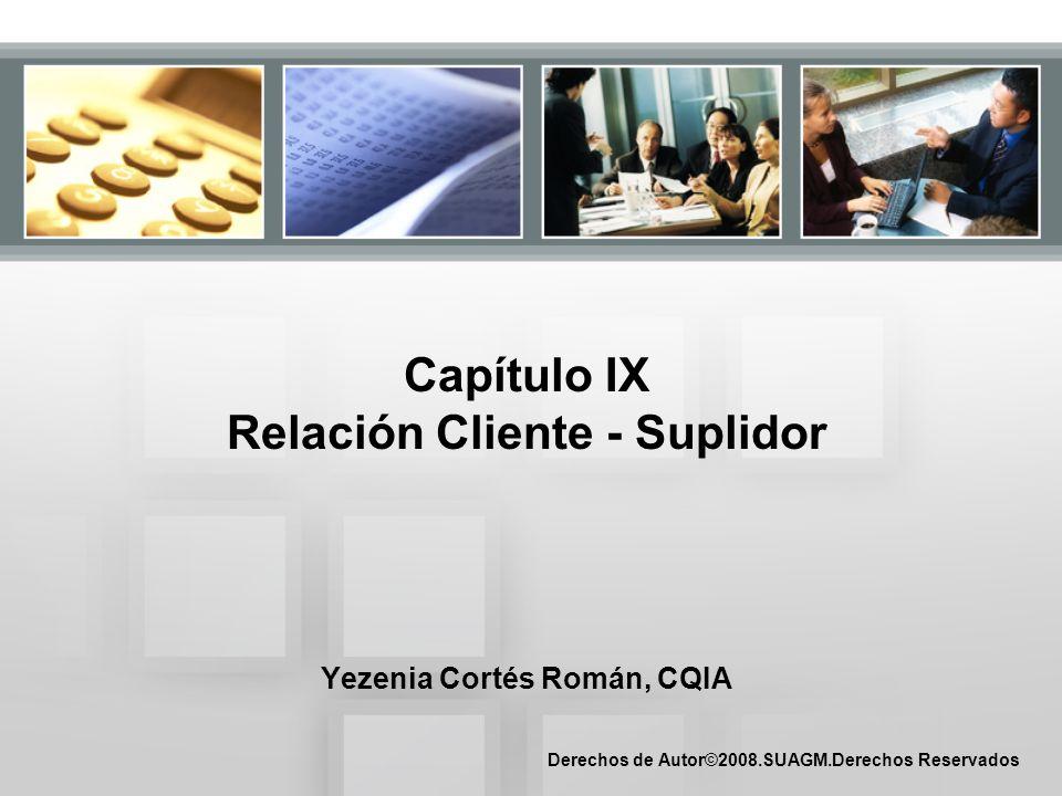 Capítulo IX Relación Cliente - Suplidor