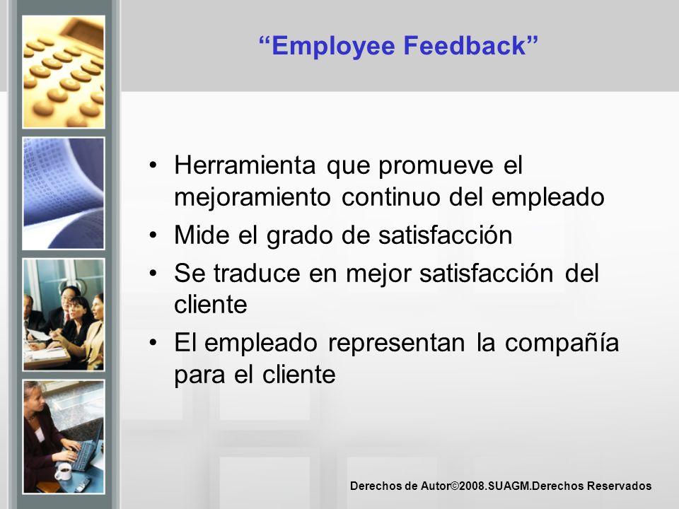 Employee Feedback Herramienta que promueve el mejoramiento continuo del empleado. Mide el grado de satisfacción.