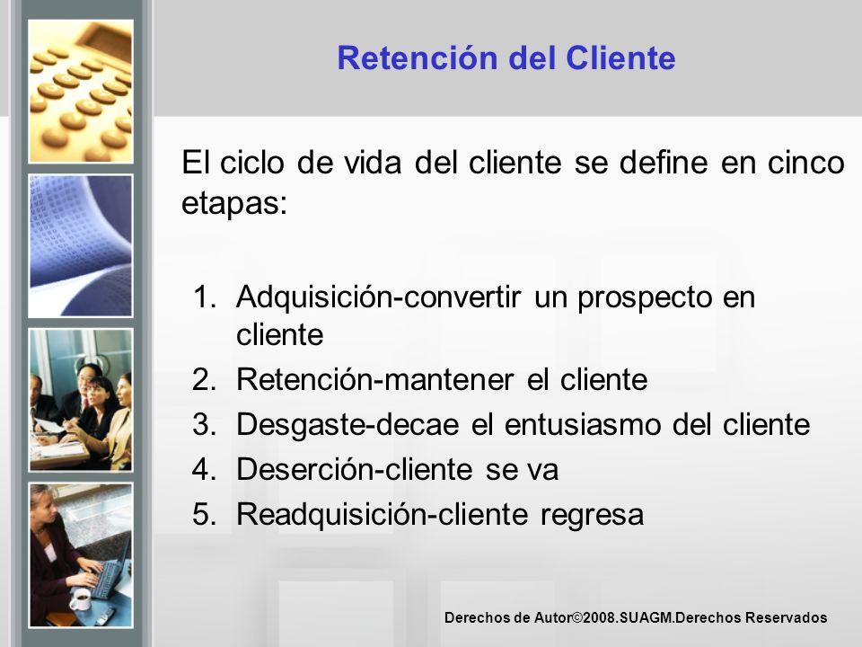 El ciclo de vida del cliente se define en cinco etapas: