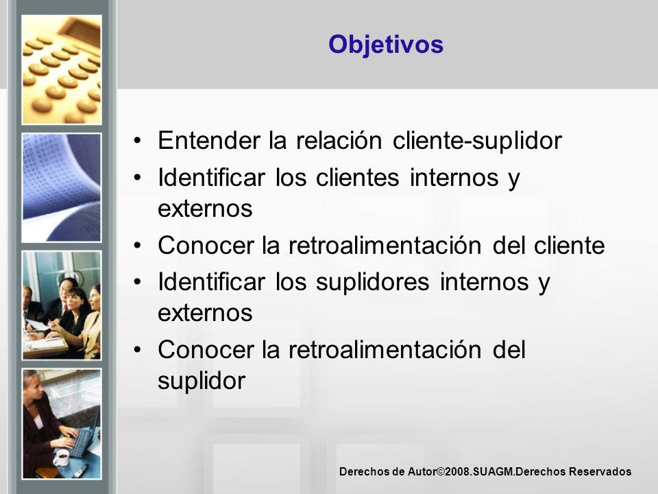 Objetivos Entender la relación cliente-suplidor. Identificar los clientes internos y externos. Conocer la retroalimentación del cliente.