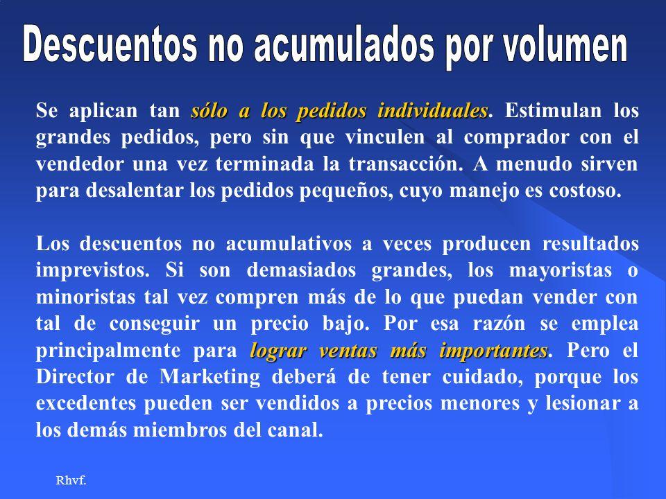 Descuentos no acumulados por volumen