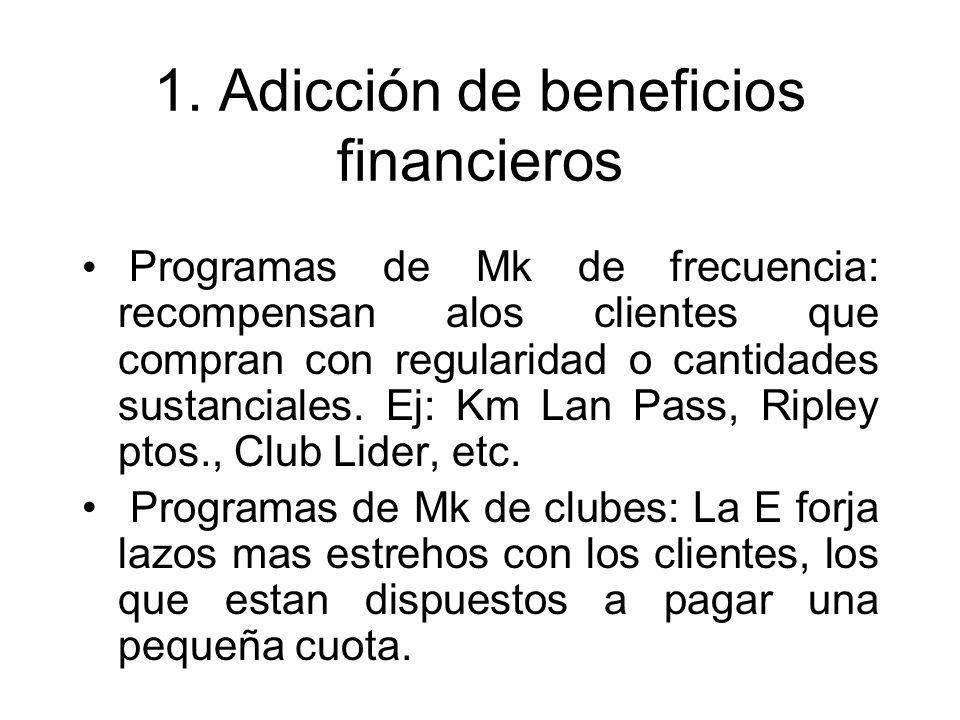 1. Adicción de beneficios financieros