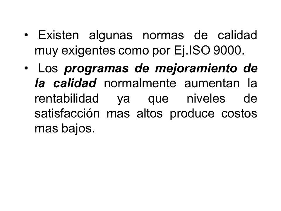 Existen algunas normas de calidad muy exigentes como por Ej.ISO 9000.