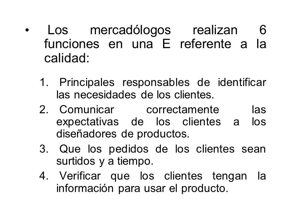 Los mercadólogos realizan 6 funciones en una E referente a la calidad: