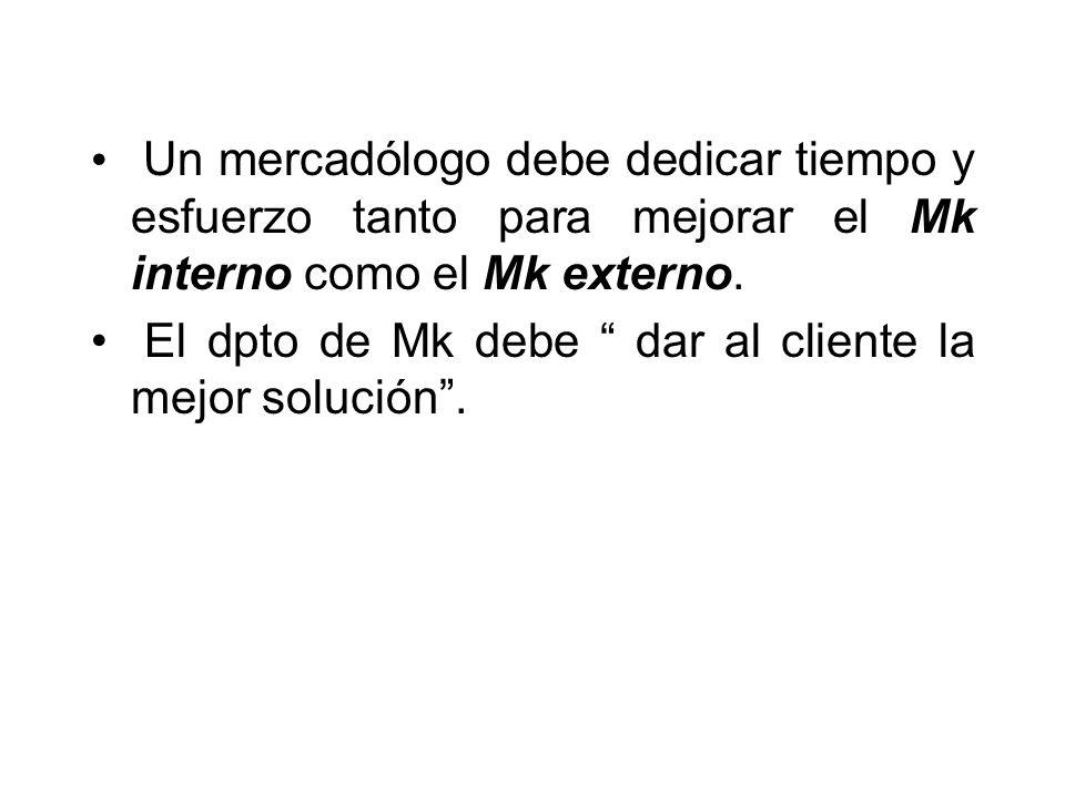 Un mercadólogo debe dedicar tiempo y esfuerzo tanto para mejorar el Mk interno como el Mk externo.