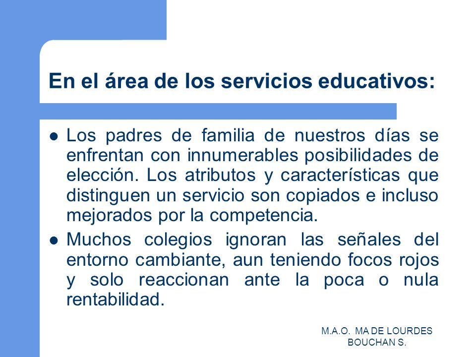 En el área de los servicios educativos:
