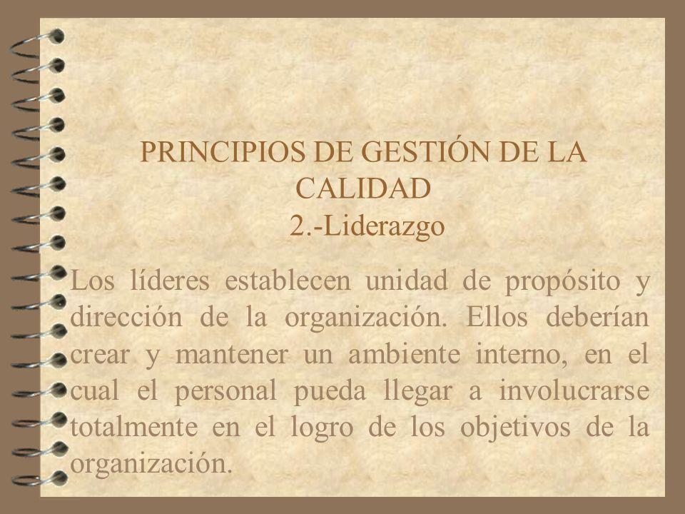PRINCIPIOS DE GESTIÓN DE LA CALIDAD 2.-Liderazgo