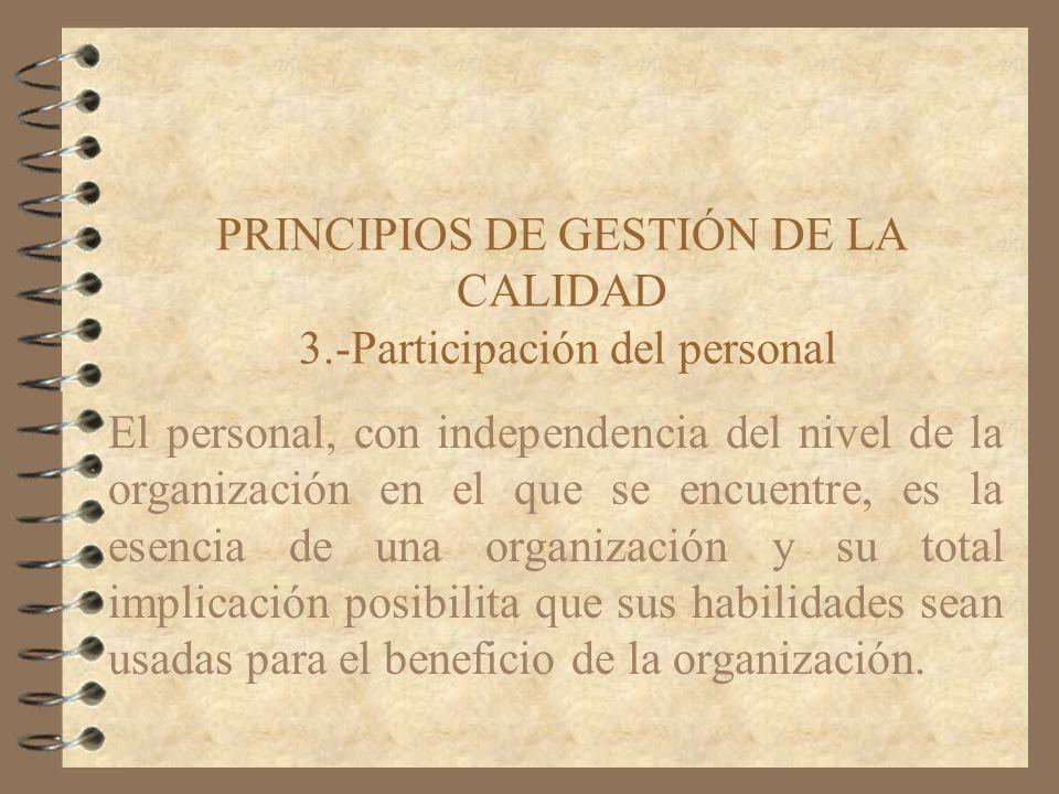 PRINCIPIOS DE GESTIÓN DE LA CALIDAD 3.-Participación del personal