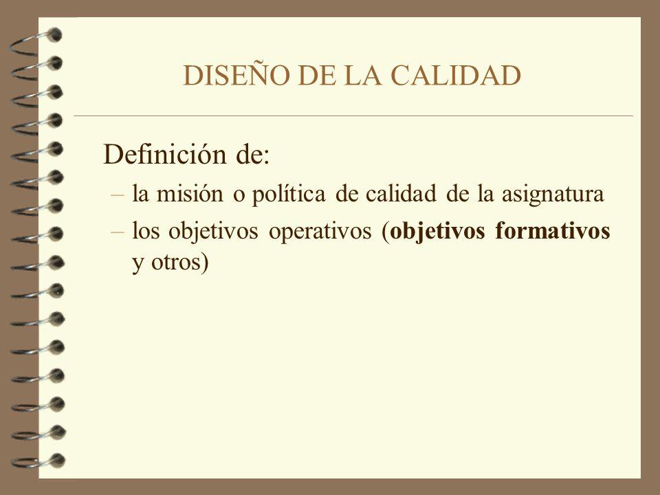 DISEÑO DE LA CALIDAD Definición de: