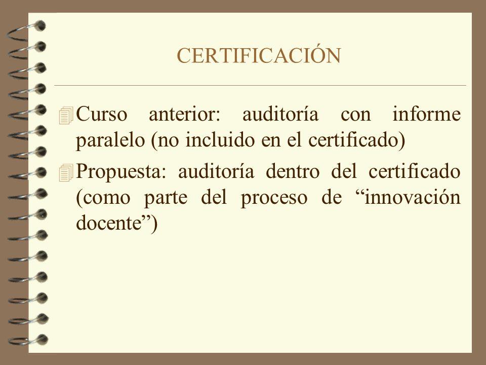 CERTIFICACIÓN Curso anterior: auditoría con informe paralelo (no incluido en el certificado)