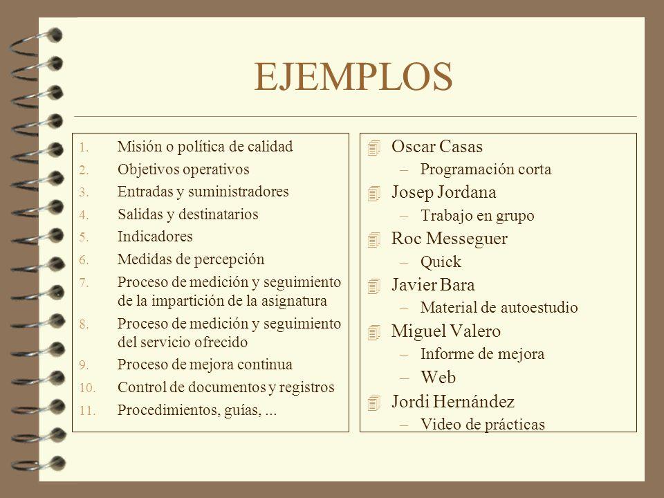 EJEMPLOS Oscar Casas Josep Jordana Roc Messeguer Javier Bara