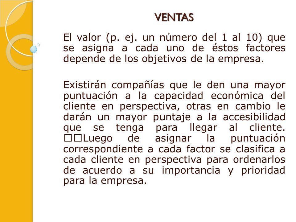 VENTAS El valor (p. ej. un número del 1 al 10) que se asigna a cada uno de éstos factores depende de los objetivos de la empresa.