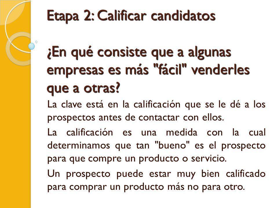 Etapa 2: Calificar candidatos ¿En qué consiste que a algunas empresas es más fácil venderles que a otras