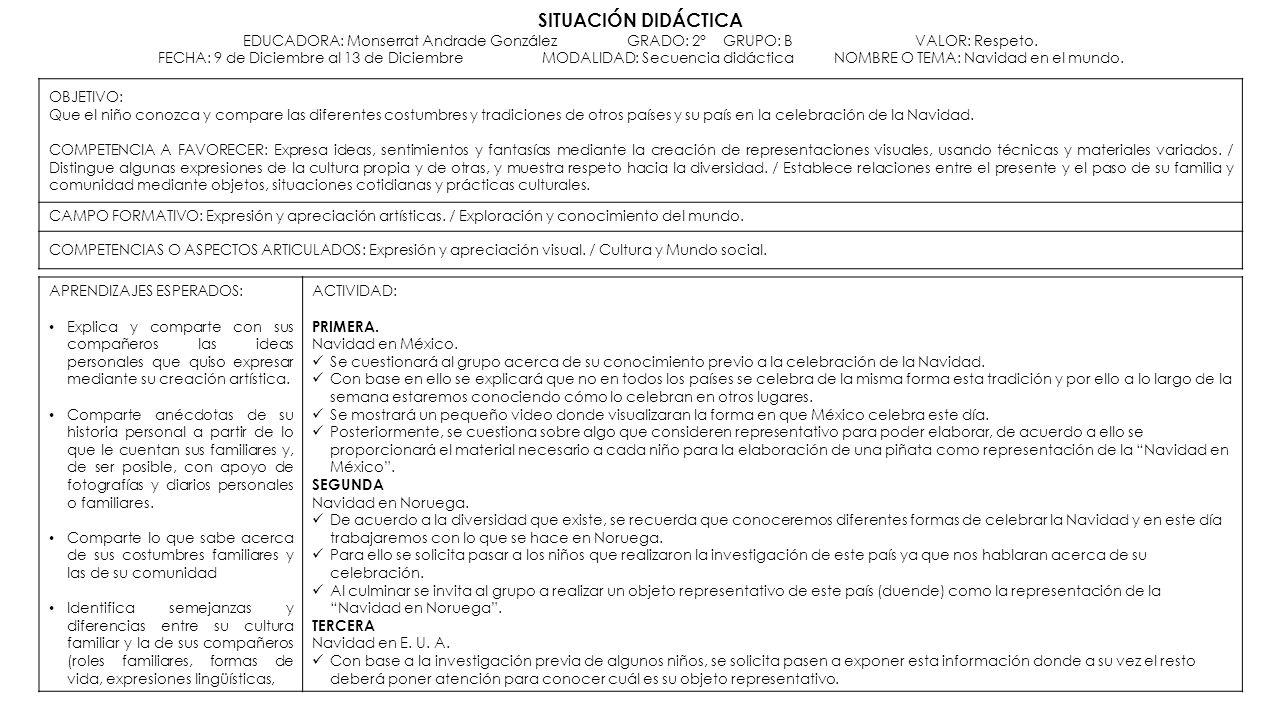 SITUACIÓN DIDÁCTICA EDUCADORA: Monserrat Andrade González. GRADO: 2°
