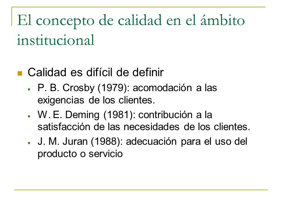 El concepto de calidad en el ámbito institucional