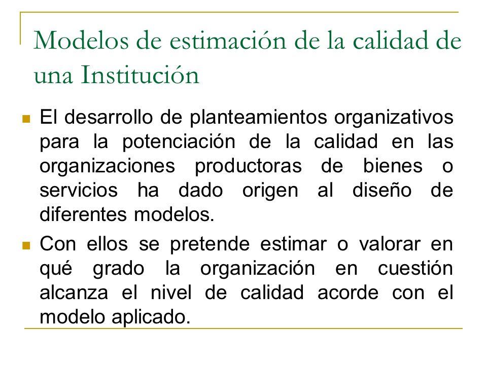 Modelos de estimación de la calidad de una Institución