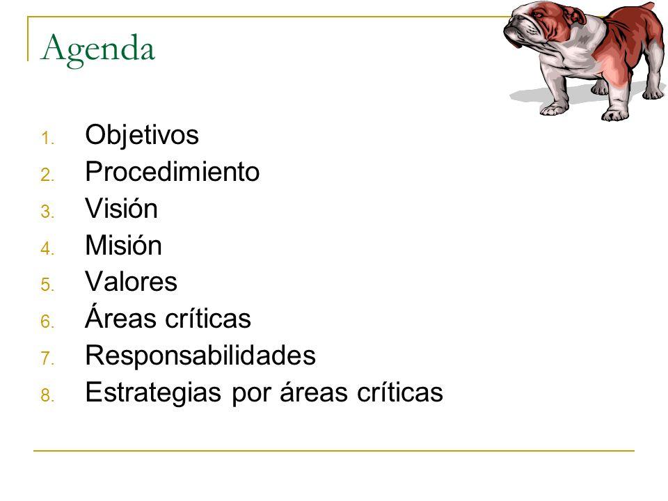 Agenda Objetivos Procedimiento Visión Misión Valores Áreas críticas